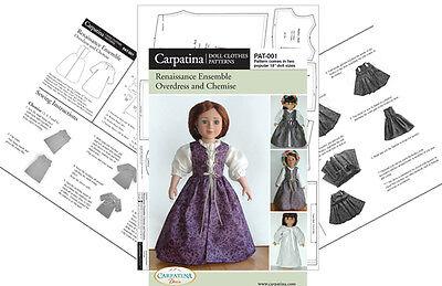 "Renaissance Dress 18"" Doll Sewing Pattern in 2 Sizes, Carpatina & American Girl"