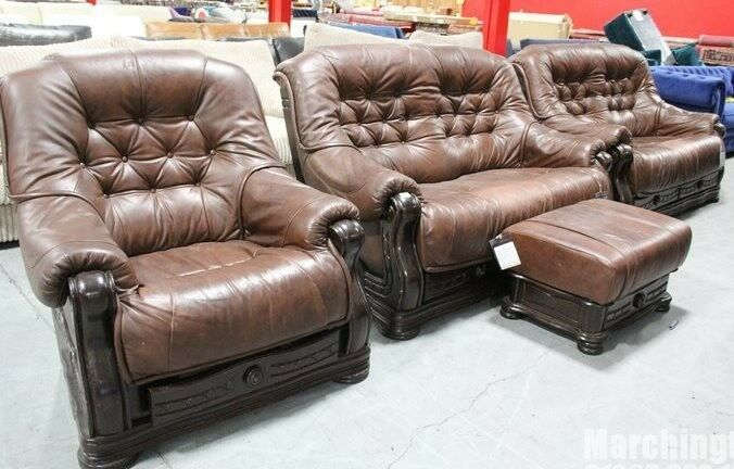 new ex showroom sofa suite dfs clayton leather brown london in