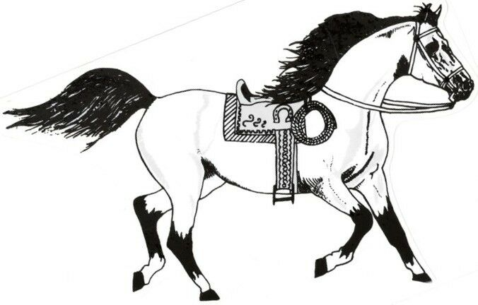 """2 - Horse Stickers With Saddle Cowboy Rope  (9"""" X 12¼"""")  Decal Vinyl   White"""