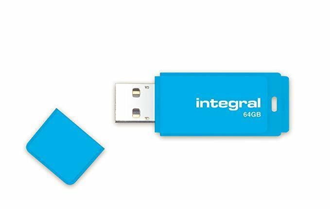 Integral NEON 64GB USB 2.0 Flash Drive  - BLUE USB Memory Stick