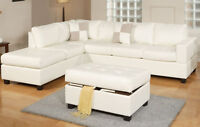 NEW! Leather Sectional with Ottoman, 4 Colors! Same Day Delivery