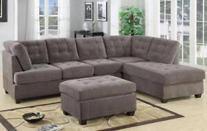 FREE Delivery in Courtenay! Grey Suede Sectional Sofa w/ Reversible Chaise!