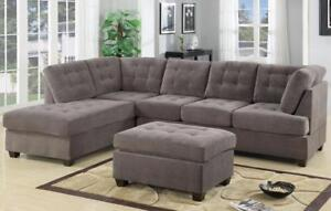 SALE is now on!! Brand New Grey Suede Sectional Sofa with Reversible Chaise! FREE shipping in Victoria!