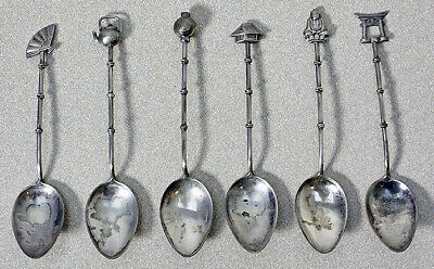 Sterling Silver Asian Spoon Set  Sakai Six Spoon Set in Box  Bamboo Handle  Boxed Demitasse Spoons  Japanese Tea Spoons  Silverware