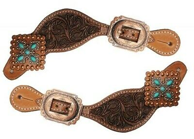 Showman Youth Size Smooth Leather Spur Straps with Nickel Plated Buckle