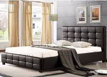 Queen Size PU Leather Padded Bed Frame Black/ White New Hoppers Crossing Wyndham Area Preview
