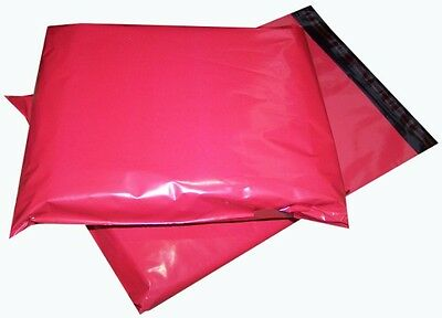 100x Red Plastic Mailing Bags 14x20