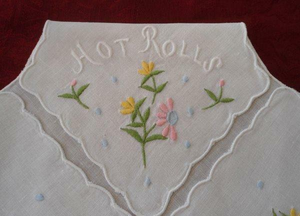Vintage Bun Warmer Doily HOT ROLLS Pink Spring Flower Embroidery