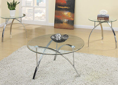 Glass Top Metal Finish - NEW 3PC LANGSON ROUND GLASS TOP CHROME FINISH METAL COFFEE END TABLE SET
