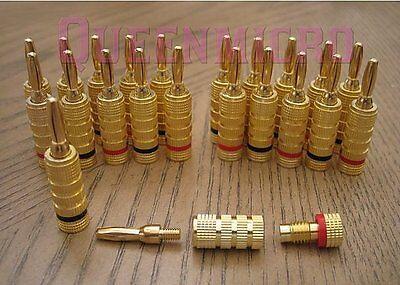 8 Lot Premium Banana Wire Audio Speaker Plug Gold Connector Close Screw 4 Pairs