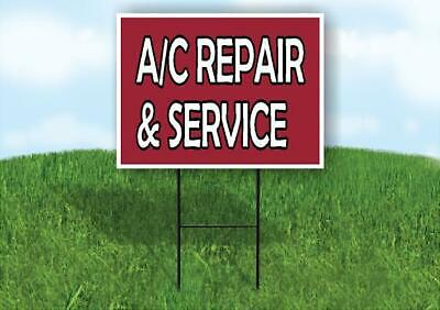 Ac Repair And Service Maroon Background Yard Sign Road With Stand Lawn Sign