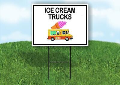 Ice Cream Trucks Black Border Yard Sign Road With Stand Lawn Sign