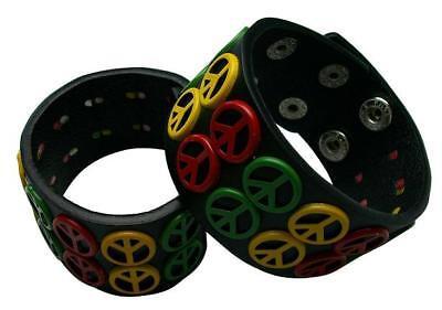 Peace Sign Wide Leather Multi Color Rasta Bracelet