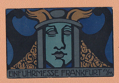 30.9.1919 gel. REKLAME Postkarte  Einfuhrmesse Frankfurt /  Lina v. Schauroth