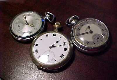 3 VINTAGE WW2 ERA GENTS POCKET WATCHES FOR 1 BID = SMITHS EMPIRE WORKING -PLUS 2