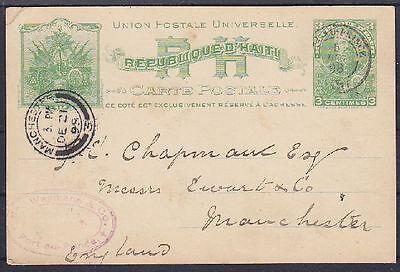 Haiti alte 3 c. Ganzsache 1898, gel. Port au Prince - Manchester, GA Ascher 3