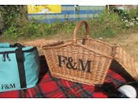 Fortnum & Mason F&M Large Wicker picnic basket storage hamper