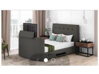 Montero upholstered king-size tv bed with mattress and tv