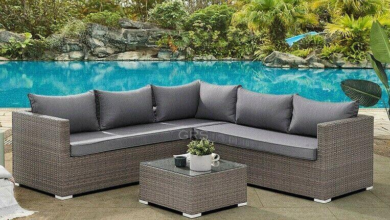 Garden Furniture - Corner Rattan Sofa Set Outdoor Garden Furniture Patio L-Shaped Grey Dining Set