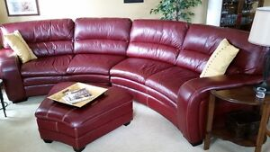 Curved Genuine Leather Couch