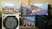 For sale: brand new wall clocks and art prints of Newfoundland
