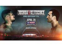 Anthony Joshua V Wladimir Klitschko Club Wembley Tickets X 2 April 29th
