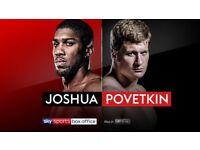 3 tickets for Anthony Joshua vs Alexander Povetkin, £510 total, 22/09/18