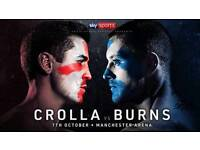Anthony Crolla vs Ricky Burns Tickets - RINGSIDE SEATS - Saturday 7th October - Manchester