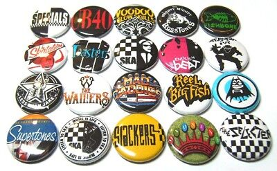 "20 SKA Bands ONE Inch Buttons 1"" Pins Badges Rude Boy Rockabilly Pinbacks 1980s"