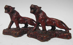 Antique 1920's Art Deco Red Roaring Tiger Bookends Armor Bronze Co. NY  yqz