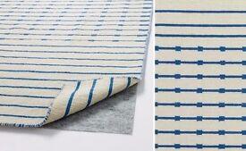 Stylish flat weave wool Tjareby Ikea rug 170 x 240 cm