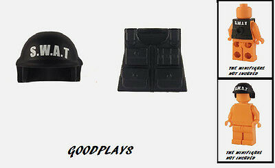 CUSTOM LEGO MILITARY SWAT TEAM Tactical Helmet AND VEST BLACK  New  - Swat Team Helmet