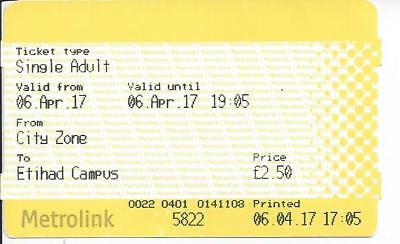 Metrolink Ticket, City Zone to Ethiad Campus, 2017