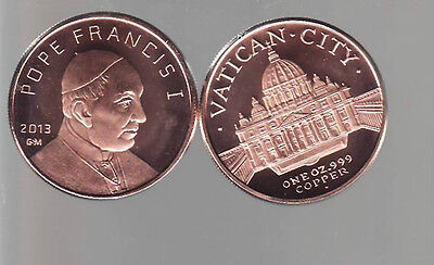 2013  POPE FRANCIS  I  Vatican City 1 oz. Copper Round Coin