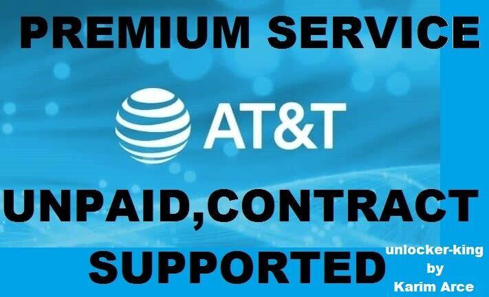 AT T SEMI PREMIUM IPHONE UNLOCK SERVICE UNPAID, UNDER CONTRACT SUPORTED - $119.00