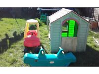 Little tikes house, car & seesaw