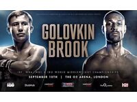 Gennady Golovkin GGG v Kell Brook boxing Ticketss O2 Arena 10 September. 2 PAIRS EXCELLENT SEATS