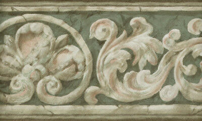 ARCHITECTURAL LEAF SCROLL IN GREEN AND BROWNS  WALLPAPER BORDER - Green Scroll Wallpaper