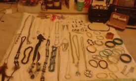 NOW £10 over 70 items of costume jewellery and jewellery box