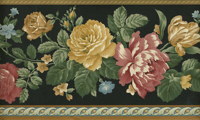 VICTORIAN RED AND GOLD ROSES BLACK BACKGROUND  WALLPAPER BORDER