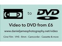 Video to DVD Transfer (VHS, S-VHS, VHS-C, 8mm & Mini DV Tape, Audio Cassette (to CD) and Cine Film)