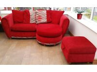 DFS Red fabric 3 seater chaise corner sofa, swivel chair and foot stool pouffe