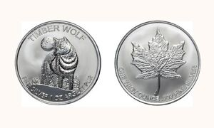 1-oz-999-SILVER-coin-Medallions-TIMBER-WOLF-MAPLE-LEAF-DESIGN-Bullion