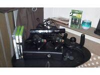 xbox360 s 250gb console, kinnect & accessories