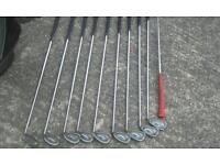 I 5 Ping golf clubs with power caddy bag & by powered trolley