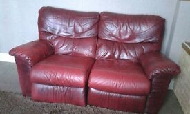 3 and 2 seater red leather sofas