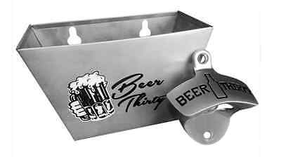 Wall Mounted Beer Thirty Bottle Opener & Matching Stainless Steel Cap Catcher