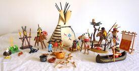 PLAYMOBIL NATIVE AMERICAN INDIAN CAMP, RARE VINTAGE MODEL