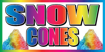 2x4 Snow Cones Vinyl Banner Concession Stand Food Sign Shaved Ice Balls