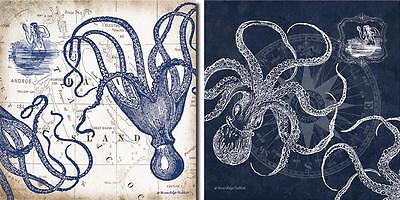 New Set Of 2 Mariners Compass And Map Indigo Octopus Coastal Poster Art 12 X12
